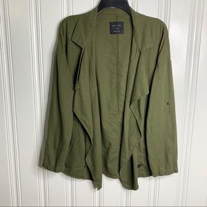 Love Tree Olive Green Open Front Jacket Cardigan
